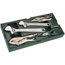 09909 Набор инструмента струбцины, длинногубцы, разводные ключи 5 предметов